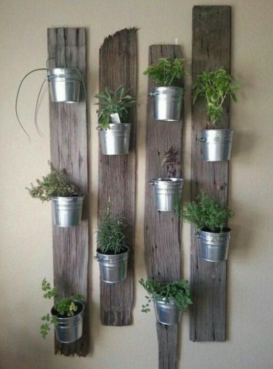 Pallet Planks Plant Holder vertical garden indoor